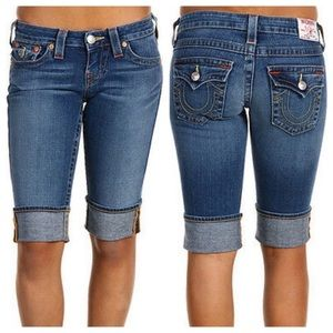 True Religion Sophie Denim Bermuda Shorts Cuff 29